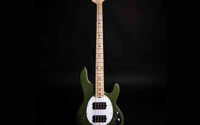 Ernie Ball Music Man Sterling HH Series Ray4 Bass Guitar – Olive with Maple Kneck
